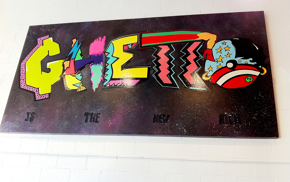 Ghetto Is The New Rich - 6ft x 12ft - Acrylic and Oil on Wood Panel - Located at 7703 Melrose Avenue (Spaulding), Los Angeles, CA 90036